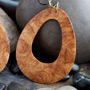 Burl wood droplet dangle design