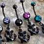 Black-coat anchor dangle navel with colored gems