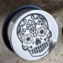 Single flare stainless steel Day of the Dead skull plug