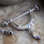 Nipple barbell with gem stirrup