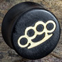 Gaboon ebony plugs with brass knuckles inlays