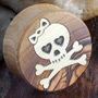Olivewood plugs with skull and crossbones inlays