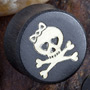 Gaboon ebony plugs with skull and crossbones inlays