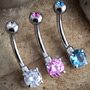 Steel prong set gemmed navel