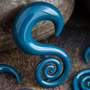 Pyrex glass mini spiral hoops (Teal)