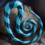 Pyrex glass Mollusk design (Striped twilight aqua)