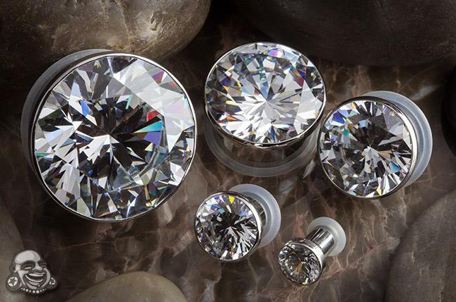 Single flare steel solid gem plug