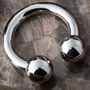 Internally threaded titanium circular barbell