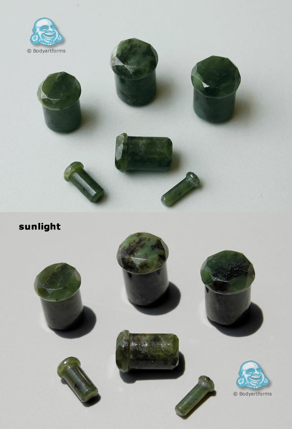 Nephrite Jade Single Flare Double Sided Faceted Plugs