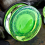 Single flare slime green colorfront pyrex plug 