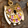Gold plated gemmed owl dangle navel