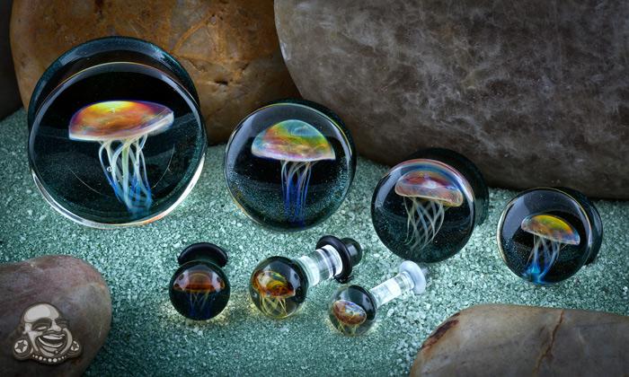 Pyrex Glass Jellyfish Plugs (Amber/Purple On Indigo Sparkle)