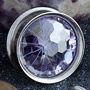 Steel eyelet with disco ball cut purple CZ gem