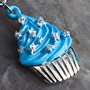 Blue cupcake with white stars dangle navel