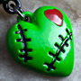 Green stitched zombie heart dangle navel