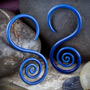 Pyrex glass spiral hoops (Blue moon)