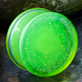 Double flare solid color pyrex plugs (slime)