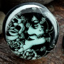 Single flare glow in the dark Day of the Dead girl plugs