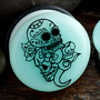 Single flare glow in the dark Day of the Dead couple plugs