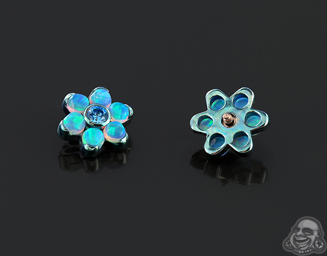 Light Blue Titanium Gemmed Flower Threaded End (Light Blue Opal #6/Arctic Blue Cz)