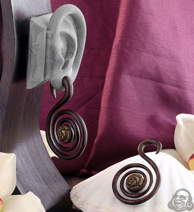 Arang Wood and Brass Rose Spiral Design