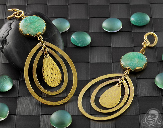 Hammered Brass and Amazonite Movement Weights