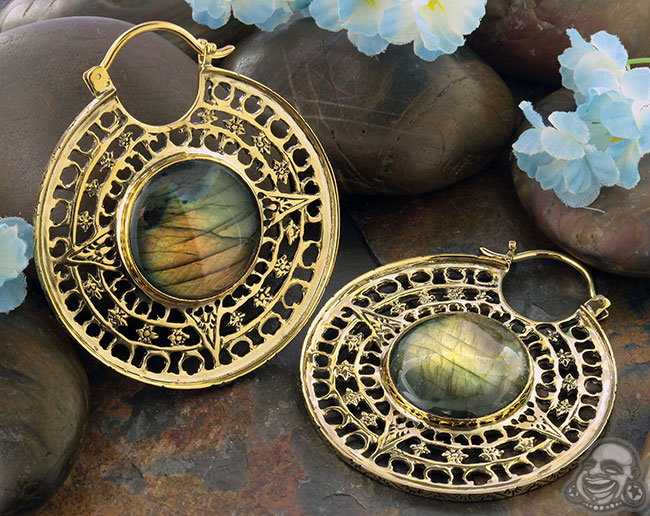 Solid Brass Isis Clasp with Labradorite