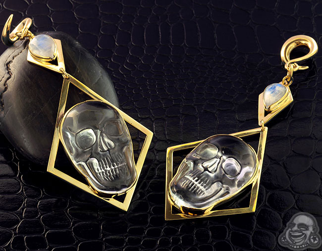 Brass and Quartz Skull and Rainbow Moonstone Weights