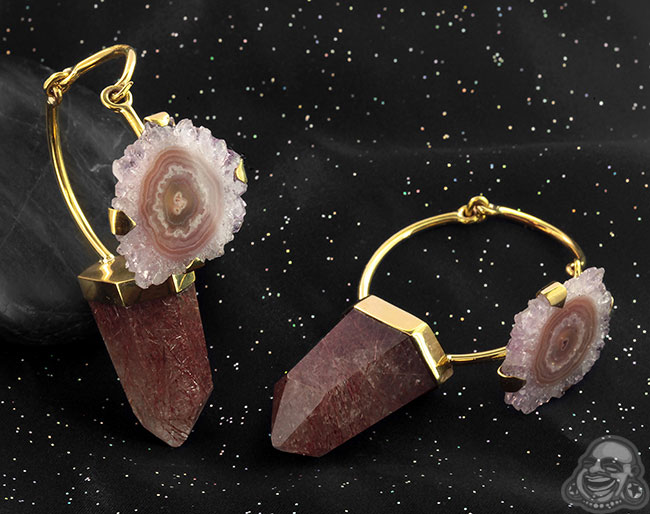 Solid Brass and Rutilated Quartz and Stalactite Hoops