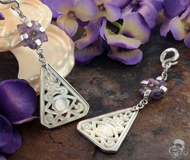 Silver and White Mother of Pearl Triangle with Stalactite Weights