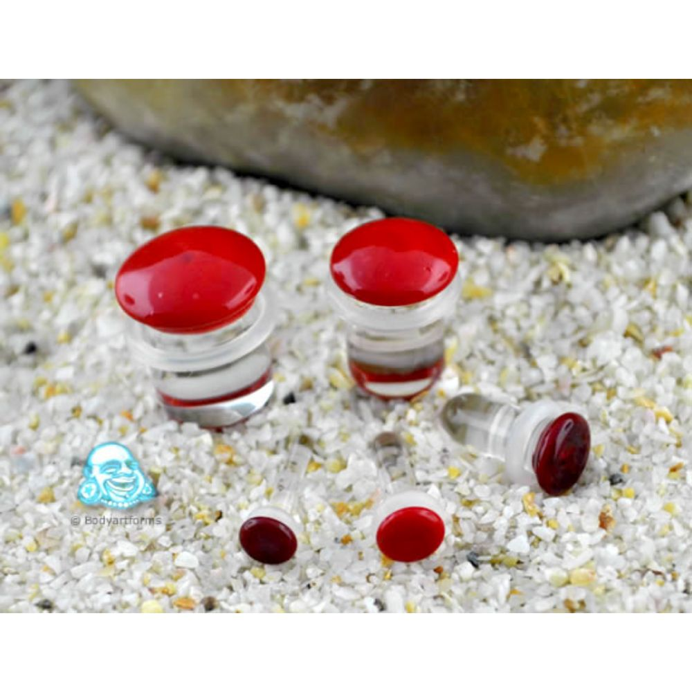 Single flare Opaque red colored pyrex plugs