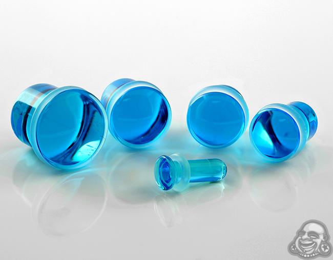 Glass Single Flare Solid Color Plugs (Ocean Blue)