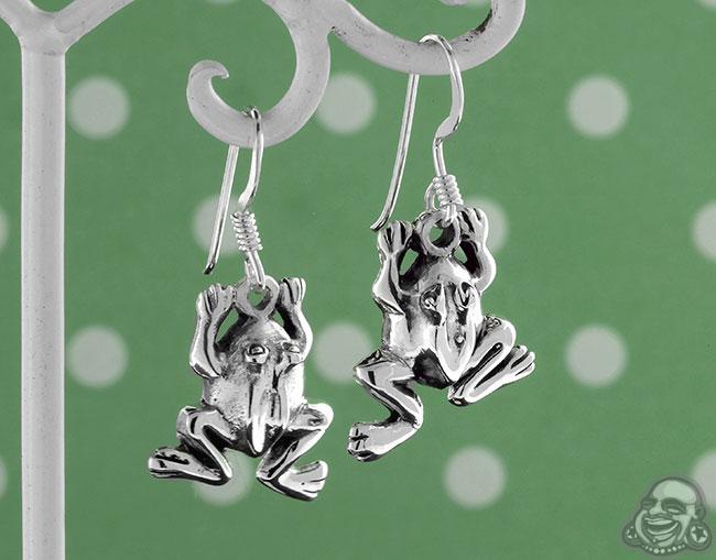 Silver Frog Dangle Earrings