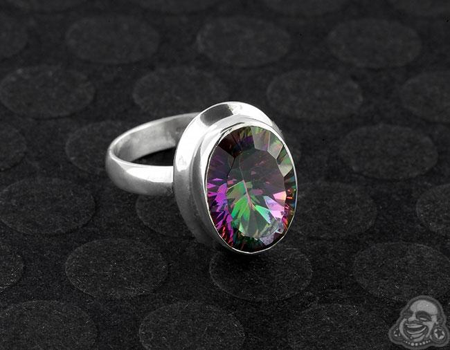 Silver and Mystic Quartz Ring
