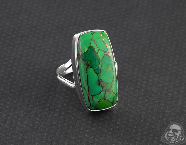 Silver and Green Bronze Boulder Ring