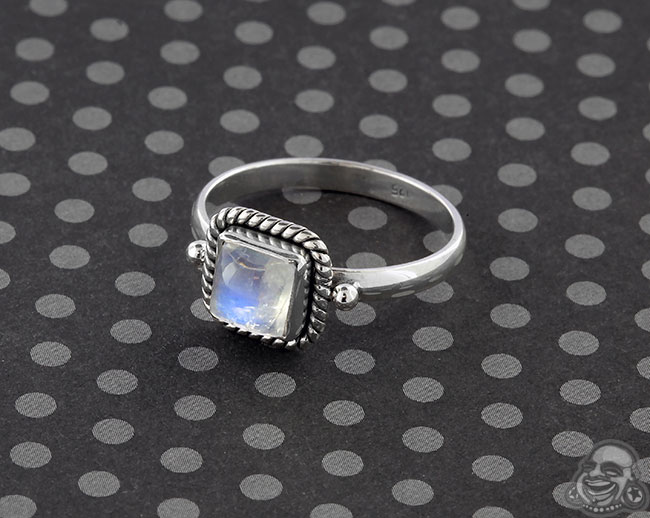 Silver and Square Rainbow Moonstone Ring