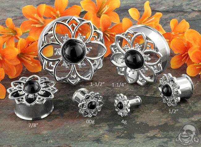Black Onyx Flower Plugs