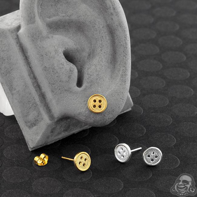 Steel Button Earrings