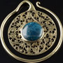 Solid brass Puj Ju hoops with apatite