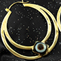 Solid brass Eclipse Moon hoops with agate