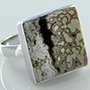 Sterling silver and ocean jasper ring (Size 10)