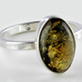Sterling silver and Baltic amber ring (Size 6)