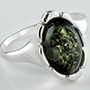 Sterling silver and Baltic amber ring (Size 7.5)