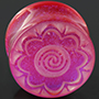 Fused dichroic Brindal Flower plugs (Magenta)