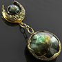 Distressed brass saddle weights with labradorite