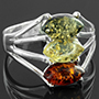 Sterling silver and Baltic amber ring (Size 8)