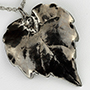 Platinum plated grape leaf pendant necklace