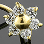 14K gold gemmed flower nosescrew