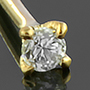 14K gold prong set CZ nosebone