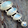 Sterling silver and rainbow moonstone pendant necklace